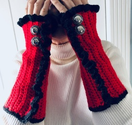 Fingerless Gloves/Wrist Warmer Steampunk or Boho Style: Red with black ruffle trim and large vintage buttons
